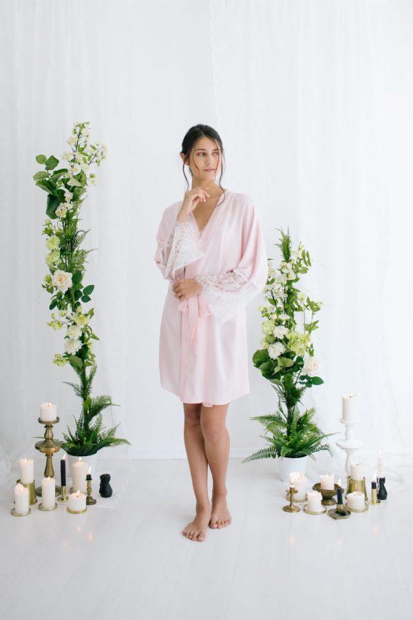 Anne Short Silk Satin Robe Pink