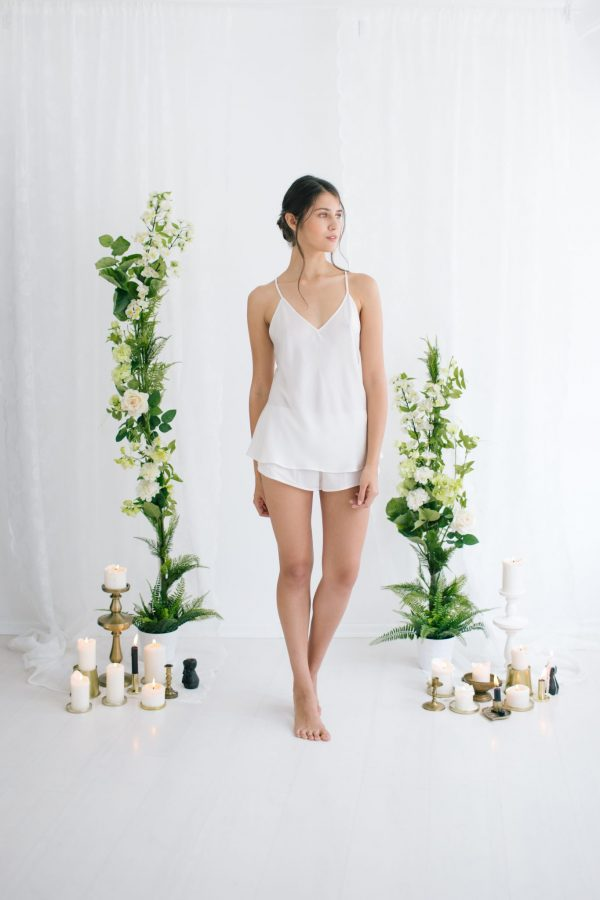 Chloe Silk Satin Cami and Shorts Ivory