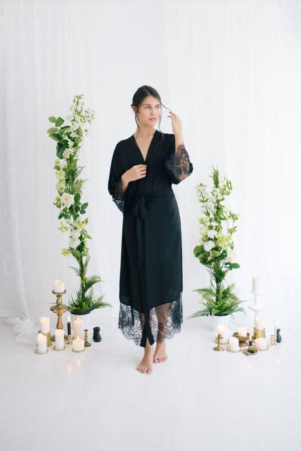Claire Long Silk Satin Robe Black