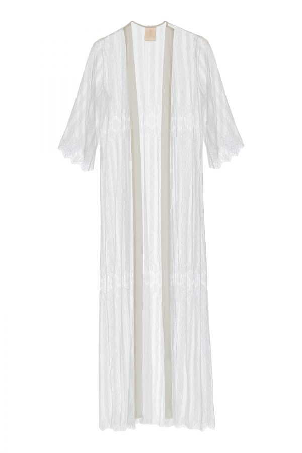 AimeeFrench Lace Robe in white