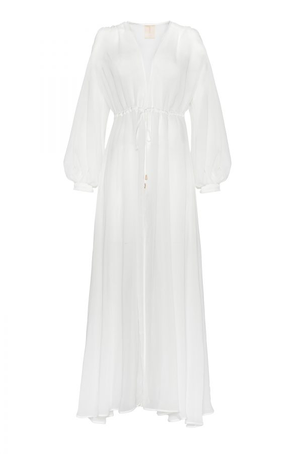 Helene Silk Chiffon Gown in White