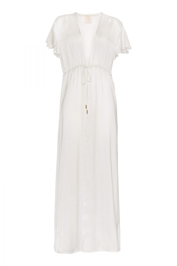Ines Silk Robe in Ivory