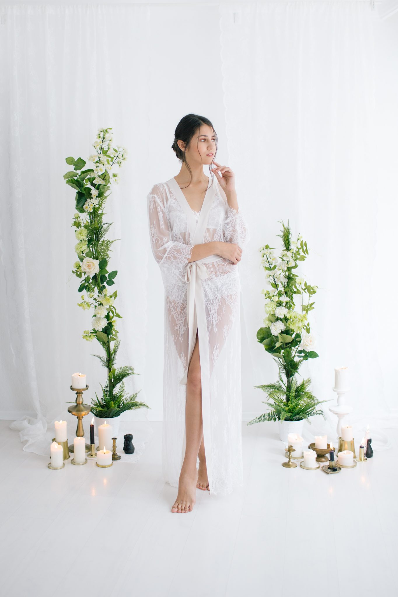 Aimee Pure Lace Robe Ivory