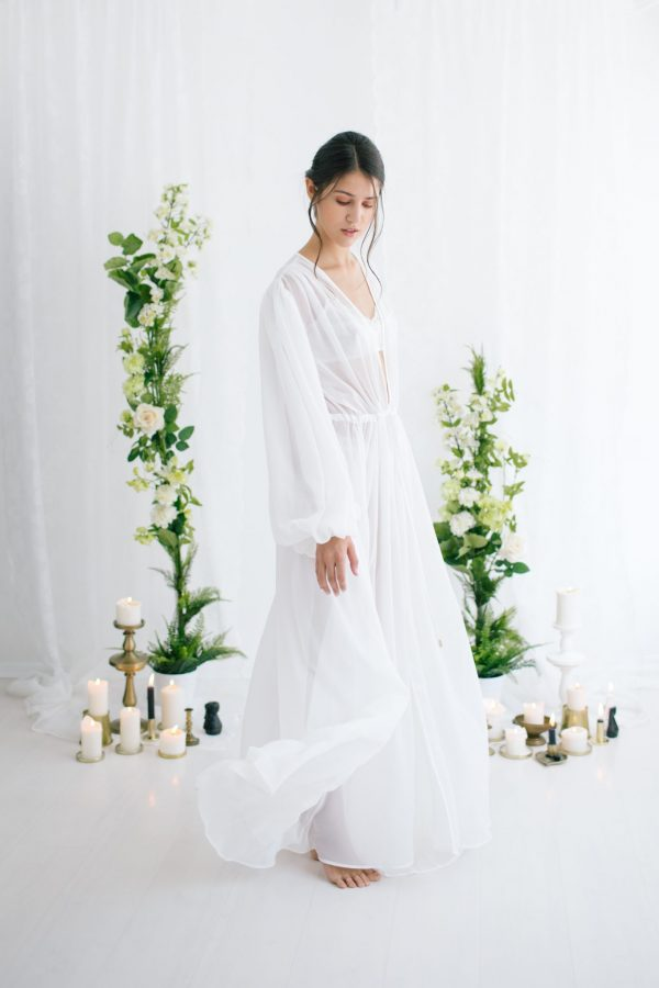 Helene Silk Chiffon Gown White