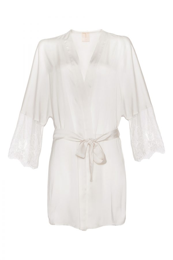 Anne Short Silk Robe in Ivory