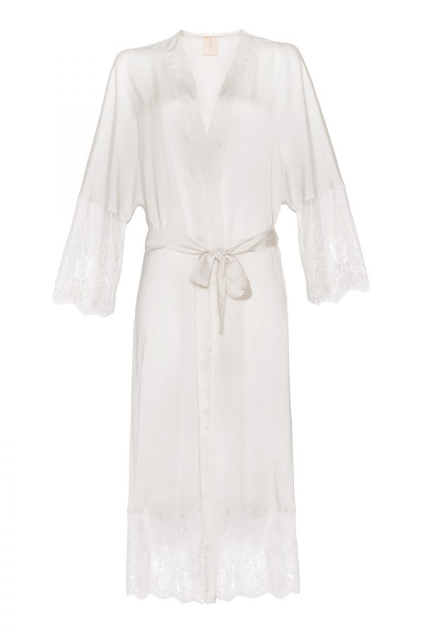 Claire Long Silk Robe in Ivory