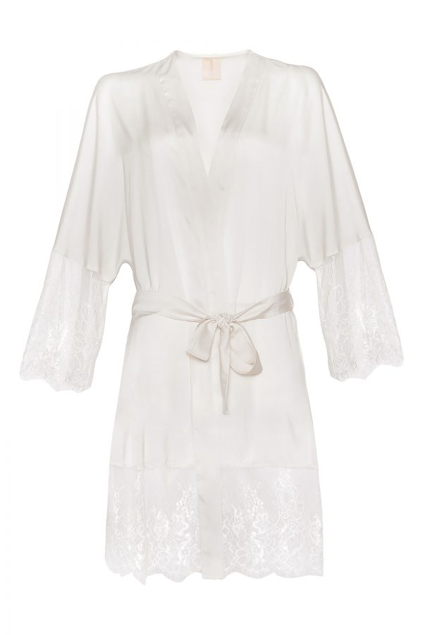 Claire Short Silk Robe in Ivory