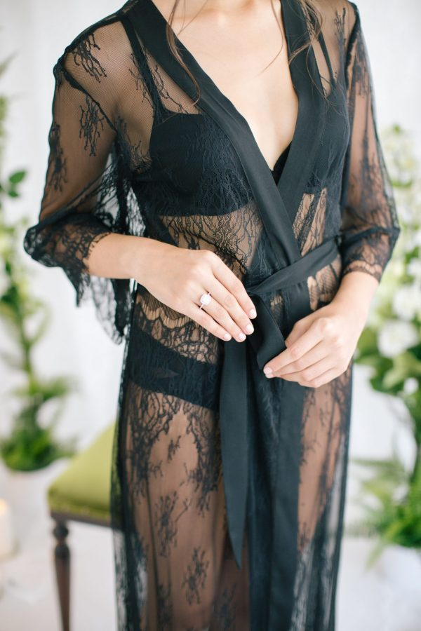 Aimee Pure Lace Robe Black