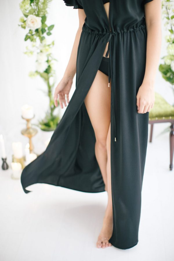 Ines Long Silk Satin Robe Black