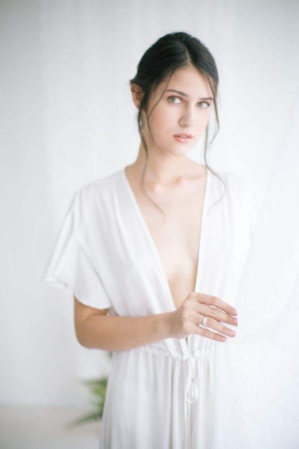 Ines Long Silk Satin Robe Ivory